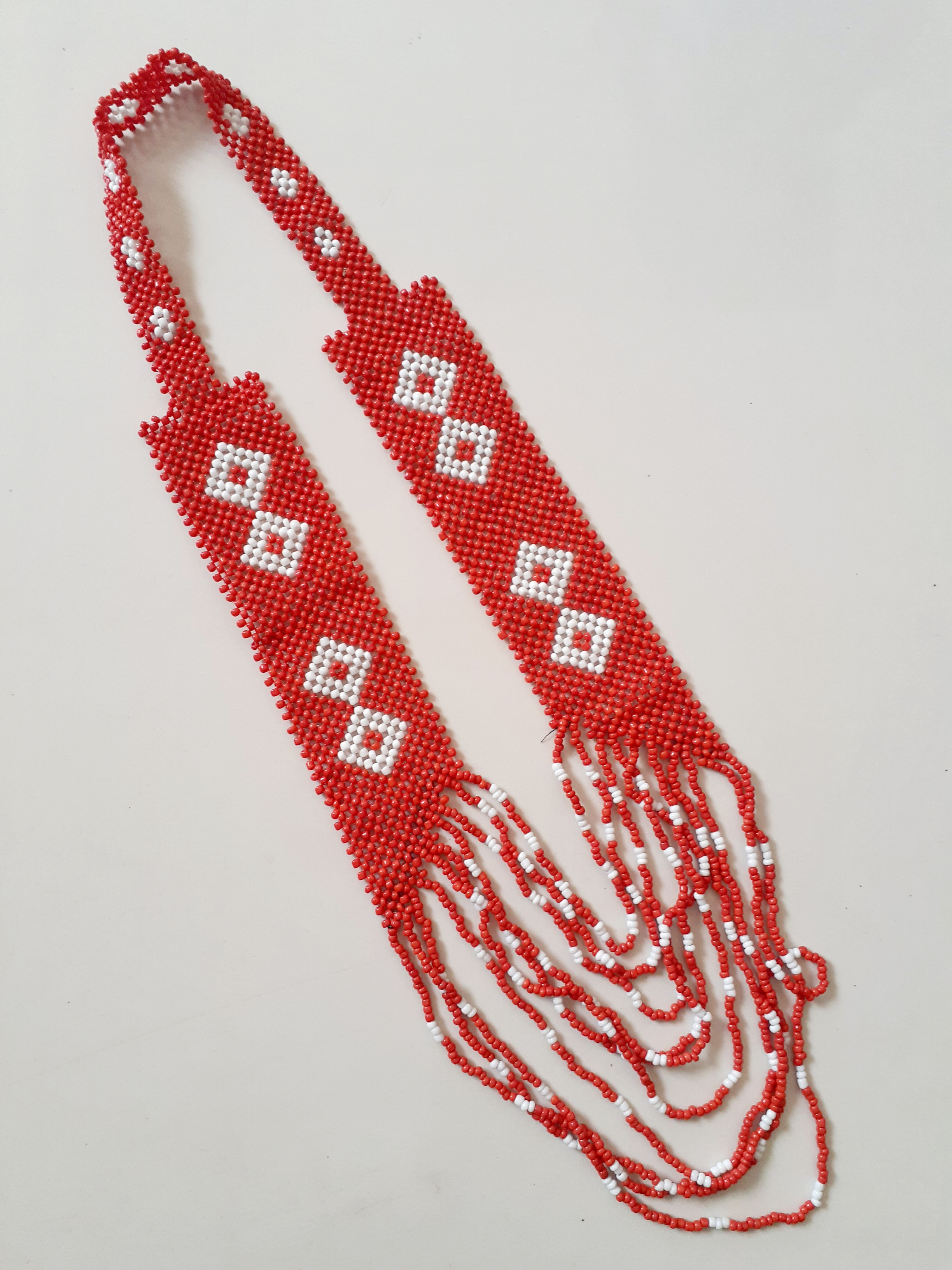 Hand- beaded Necklace (red)